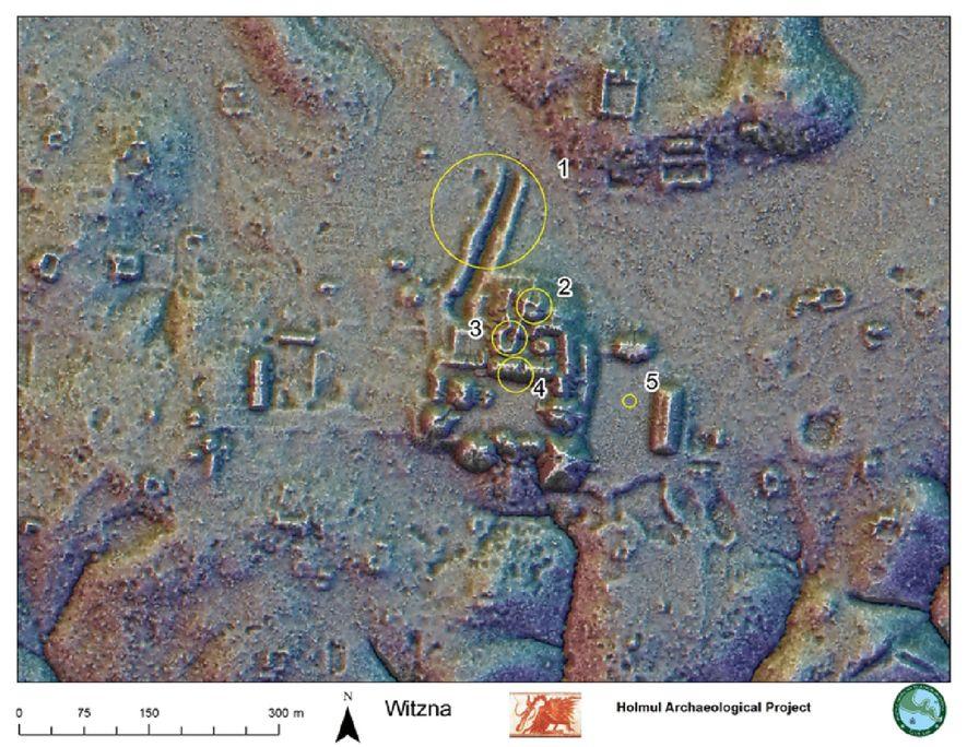 Cette carte obtenue par télédétection au laser (LIDAR) montre l'emplacement d'un centre cérémonial de l'ancienne cité maya de Witzna, dans l'actuel nord du Guatemala. D'après une inscription découverte dans une cité voisine, Witzna aurait succombé aux flammes le 21 mai 697.
