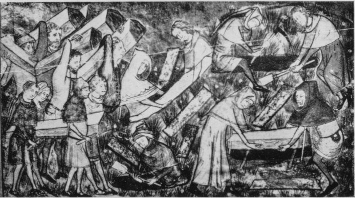 Un dessin du XIVe siècle représente l'enterrement des victimes de la peste.Les contes allemands parlent denachzehrer ...