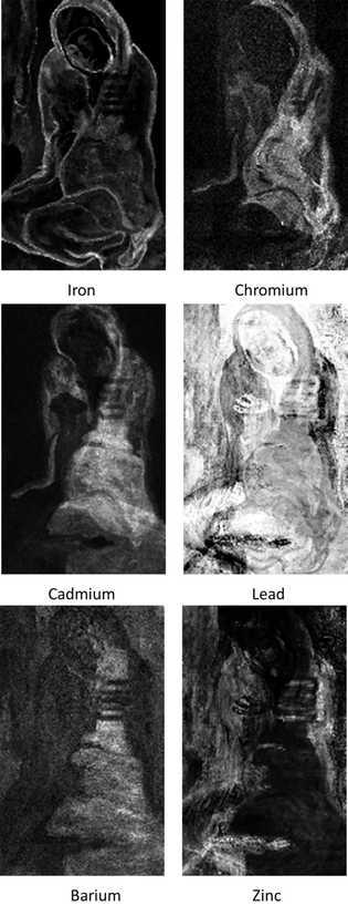 """La cartographie chimique des couches de pigments dans """"La Miséreuse accroupie"""" a révélé de multiples itérations ..."""