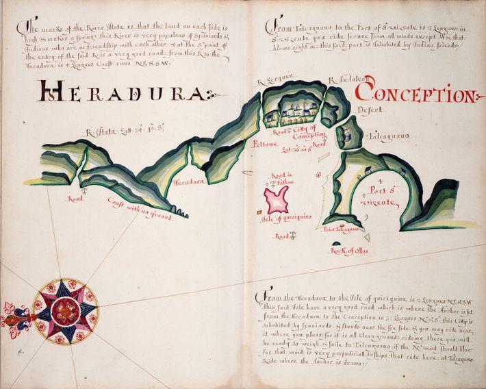 Carte d'une copie de 1685 de l'atlas de Hack représentant le littoral de l'Amérique du Sud ...