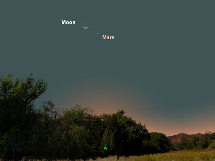 Mars, toute de rouille vêtue, sera suspendue près de la Lune le 11 mars.