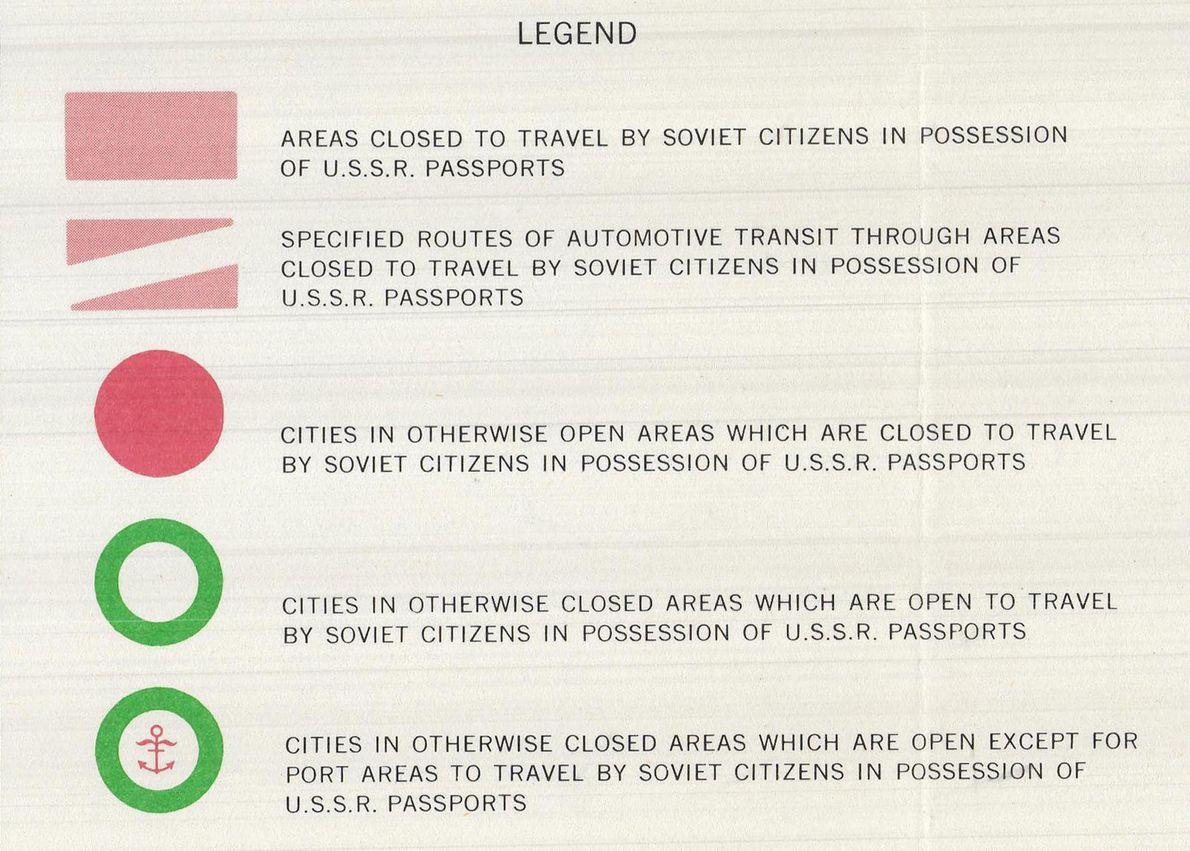 La légende de la carte, qui explique les restrictions de voyage.