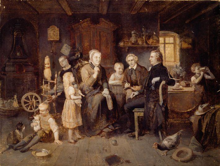 Sur cette peinture à l'huile du 19e siècle, le peintre Louis Katzenstein représente Dorothea Viehmann en ...