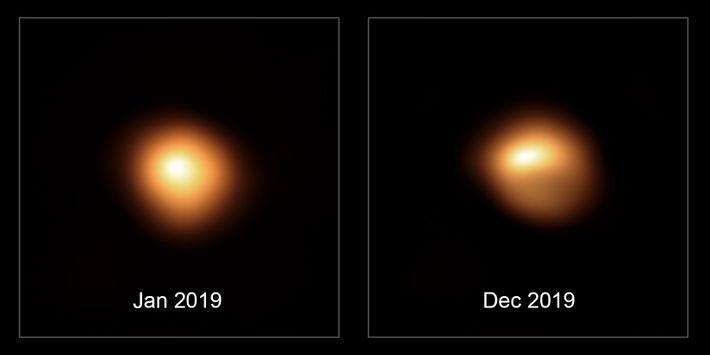 Bételgeuse avant et après sa gradation sans précédent. Les observations, prises par le Très Grand Télescope ...