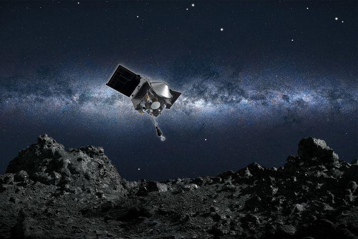 Vision d'artiste de la sonde spatiale OSIRIS-REx sur le point de collecter un échantillon de l'astéroïde ...