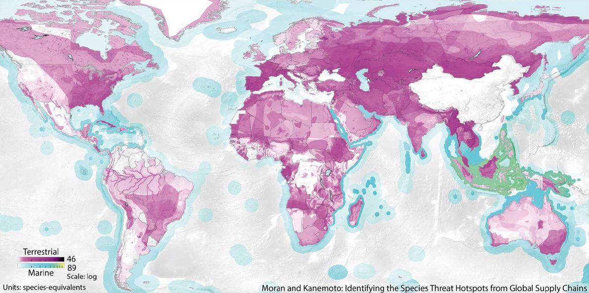 Carte des points chauds où la faune est directement menacée par les consommateurs chinois. L'échelle indique ...