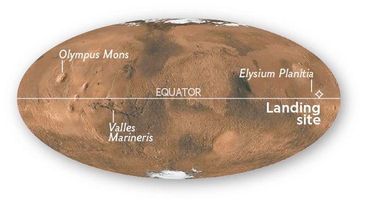 InSight a atterri à Elysium Planitia, près de l'équateur martien.