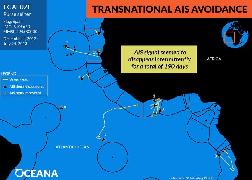 Pendant sept mois, un second navire de pêche espagnol a éteint son système AIS alors qu'il ...