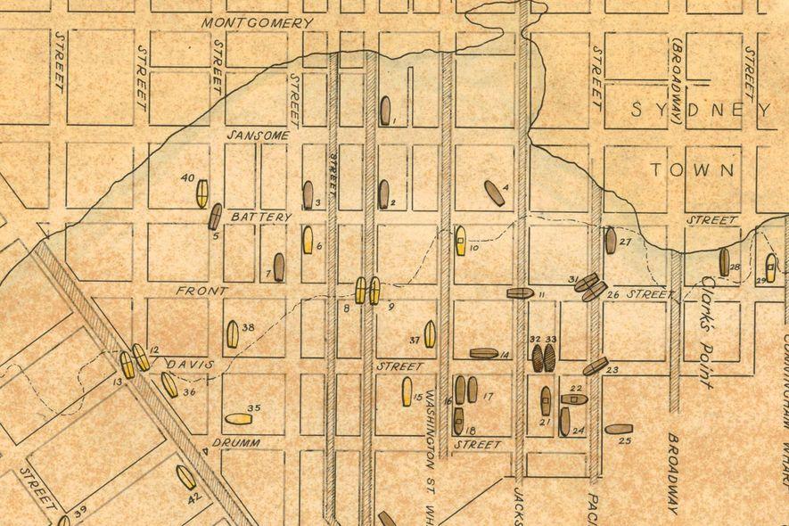 Les détails de la carte originale des navires ensevelis datant de 1963 montre « Sydney Town », où les Australiens s'étaient rassemblés pendant la ruée vers l'or. Une enclave chilienne était située au bord de l'intérieur des terres et des échauffourées éclataient parfois entre les deux groupes.