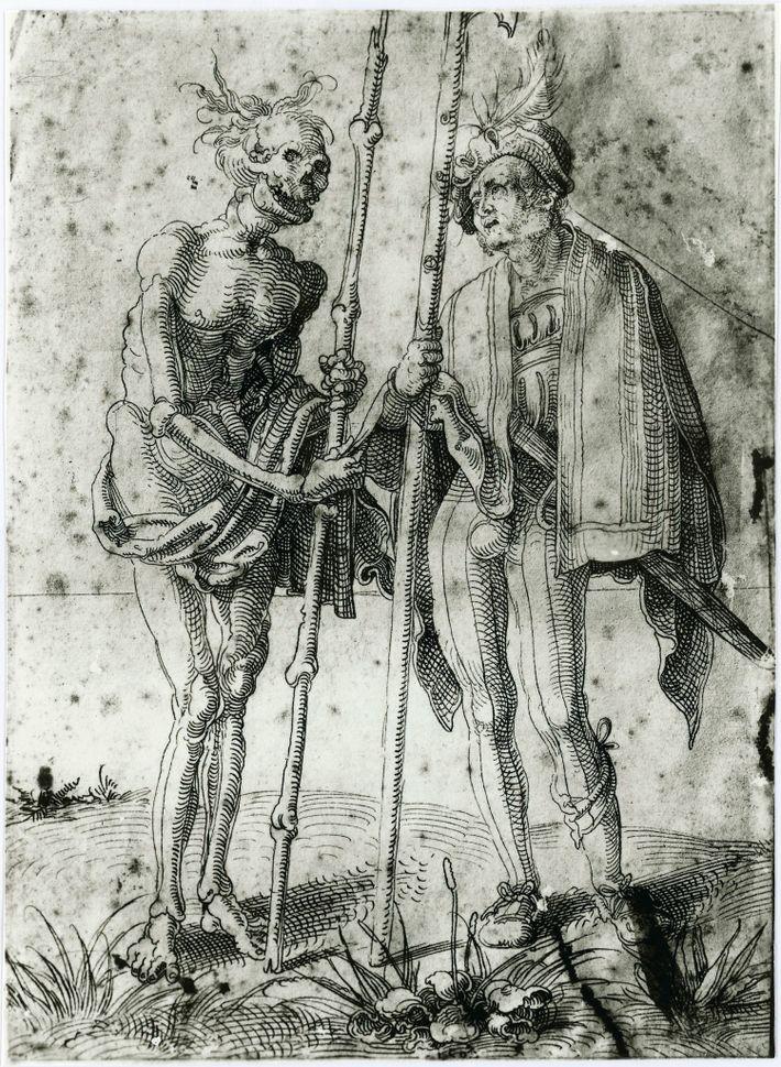 Ce dessin du XVIe siècle de Hand Baldung Grien représente un mercenaire allemand parlant avec la ...