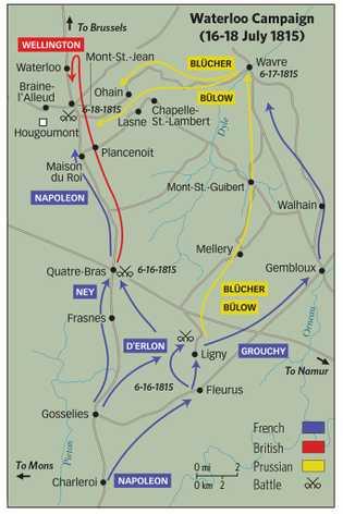 Mouvements des armées au cours des trois derniers jours de la campagne de Waterloo.  Les Français sont représentés ...