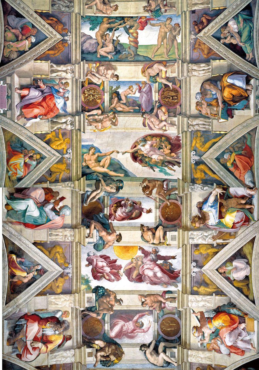 Les neuf panneaux du plafond de la chapelle Sixtine représentent des scènes emblématiques de l'Ancien Testament, ...