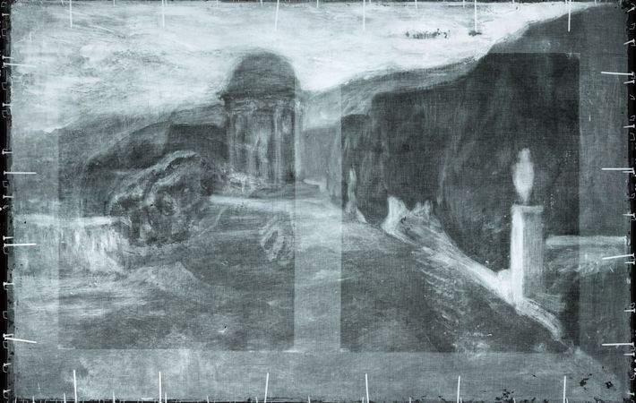 """Les scans ont révélé cette peinture de paysage sous """"La Miséreuse accroupie""""."""