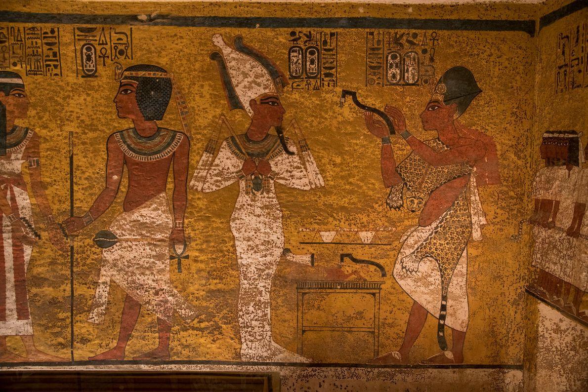 Les différences de techniques d'exécution des peintures sur le mur nord du tombeau soulignent une modification ...