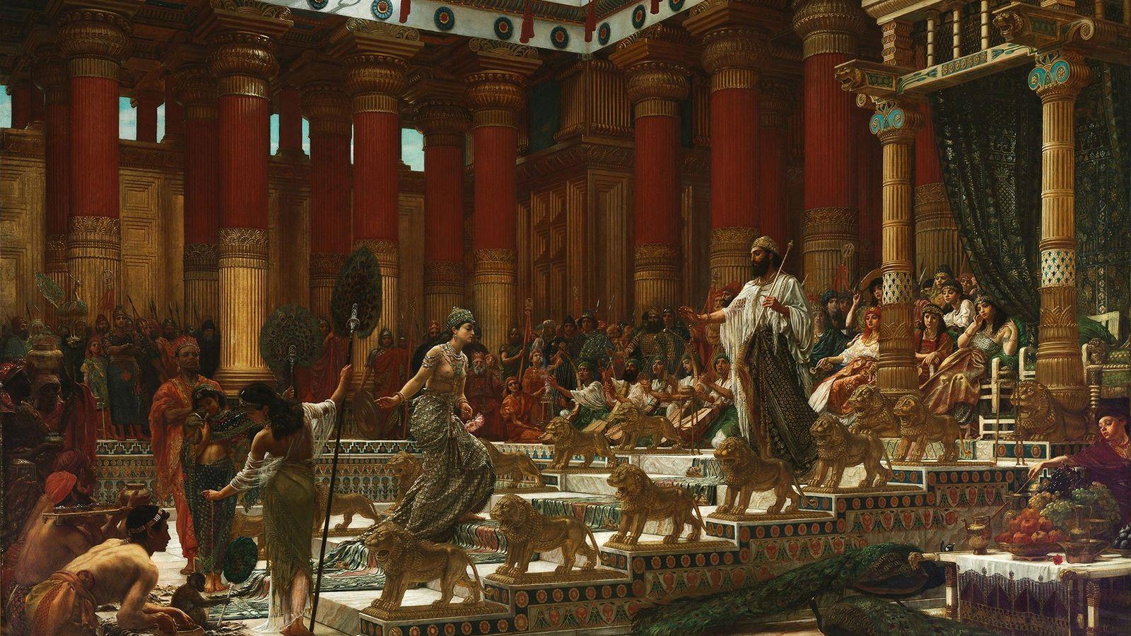 La reine de Saba rend visite à l'opulente cour du roi Salomon dans cette scène imaginée ...