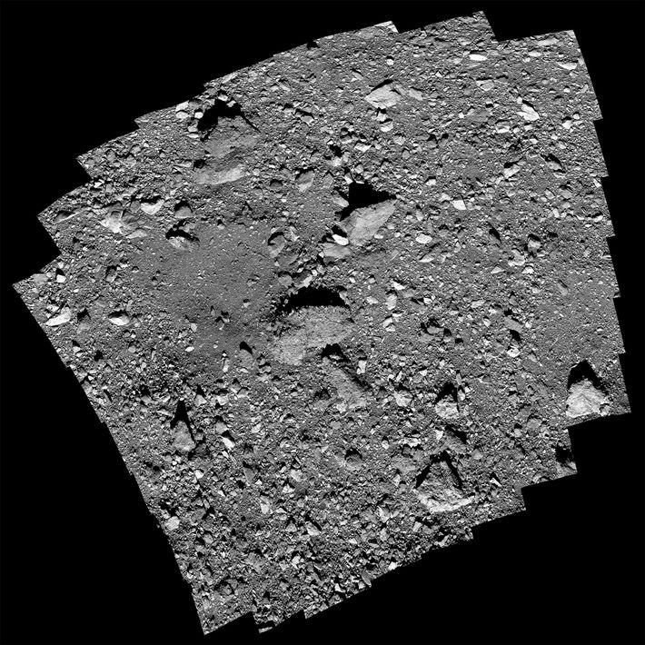 Le périlleux site d'échantillonnage, baptisé Nightingale, présente un rocher de trois étages de haut et 14 m ...