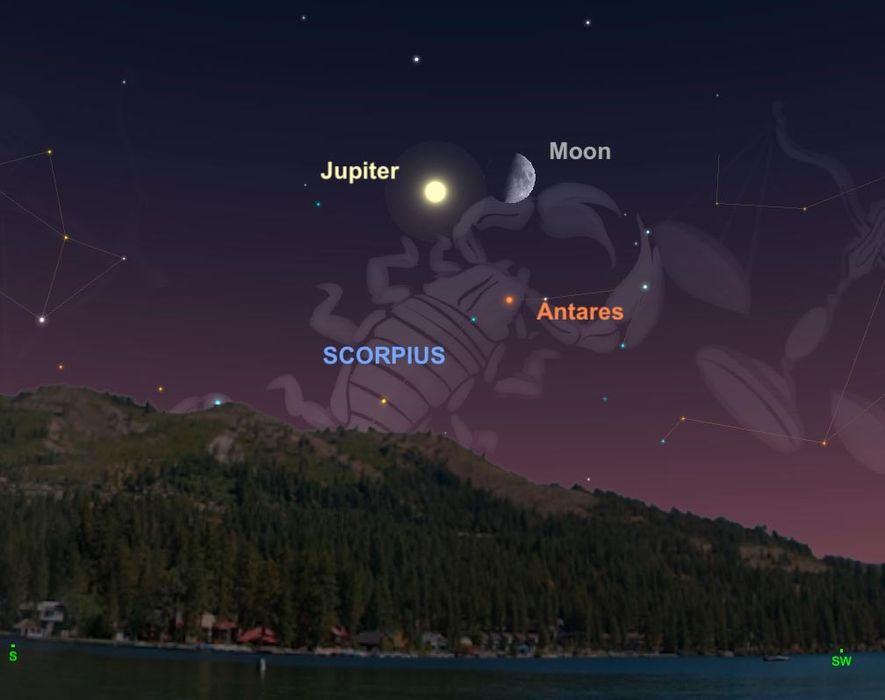 Le 5 septembre, la lune entrera en formation triangulaire avec Jupiter et l'étoile Antarès près de la constellation du Scorpion.