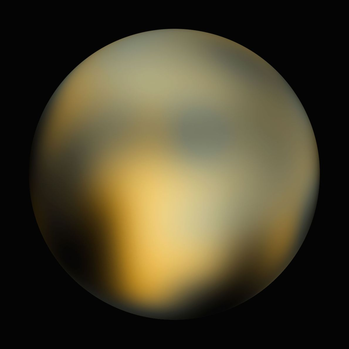 In 2010, an analysis of Hubble images revealed a mottled world of orange, white, and black. ...