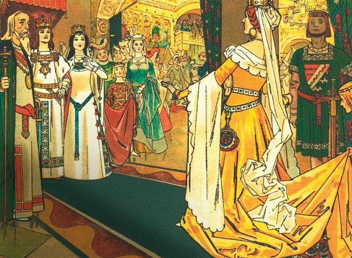 La Méchante-Reine est invitée au mariage de Blanche-Neige, dans cette illustration réalisée par Franz Juttner en ...