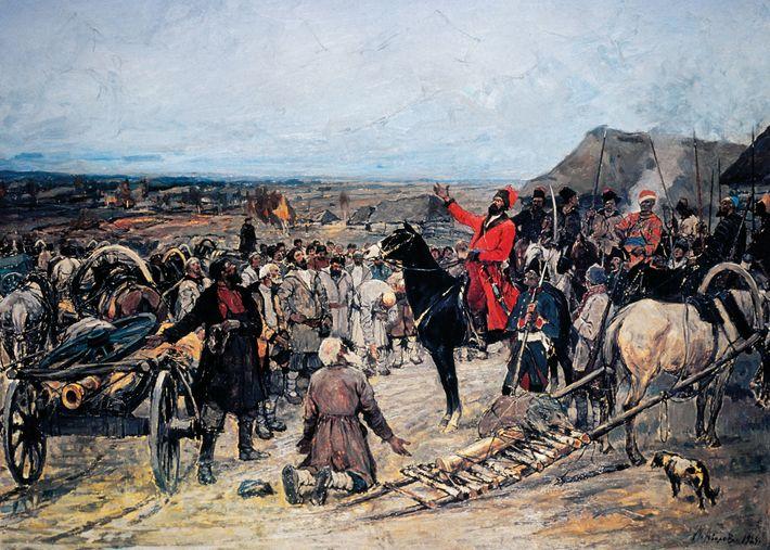Revendiquant qu'il était le défunt Pierre III, Yemelyan Pugachev a mené une révolte paysanne contre Catherine ...