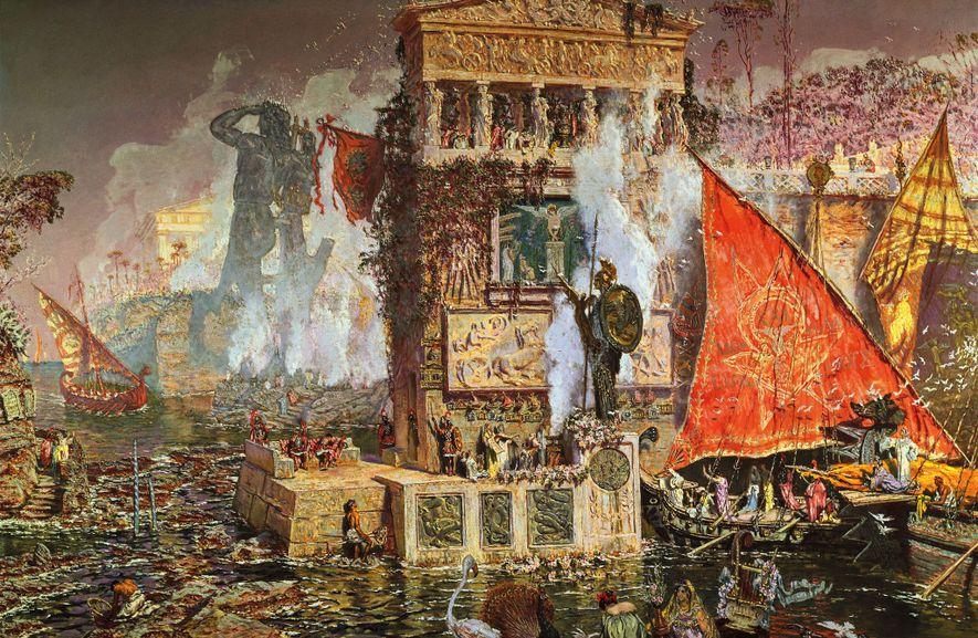 Après avoir visité l'île de Rhodes, l'artiste Antonio Muñoz Degrain a imaginé le Colosse dans cette peinture à l'huile de 1914. Académie royale des beaux-arts San Fernando, Madrid.