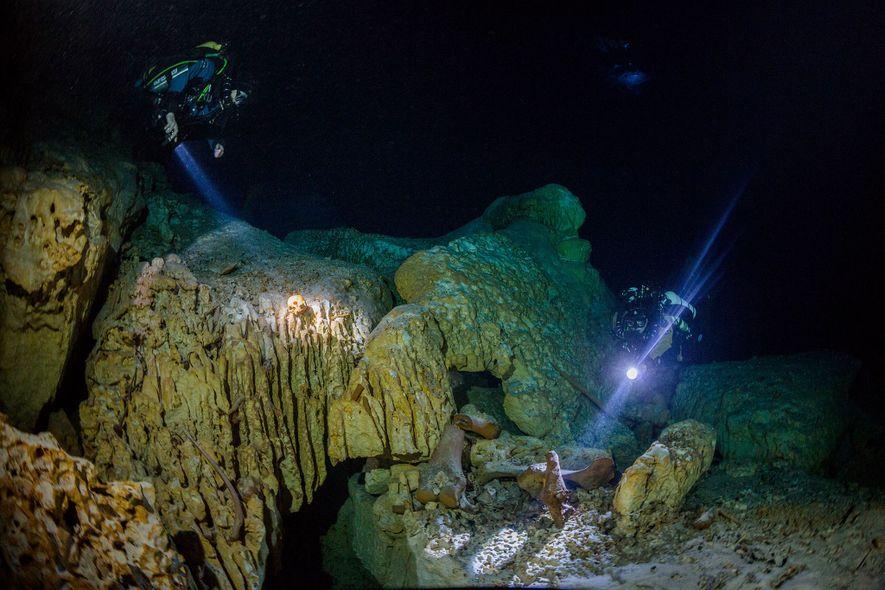 Les plongeurs explorent Hoyo Negro. La grotte sous-marine renferme les plus anciens et plus complets squelettes ...