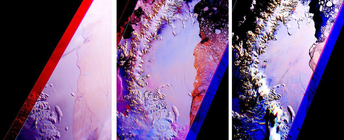 Le satellite Terra de la NASA a pris ces images successives de la plate-forme de glace ...