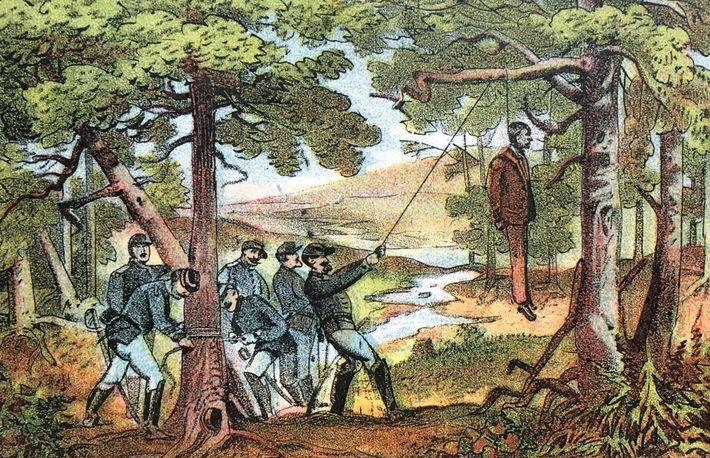 Cette chromolithographie représente les soldats de l'Union torturant Reuben Samuel, le beau-père de Jesse James, en ...