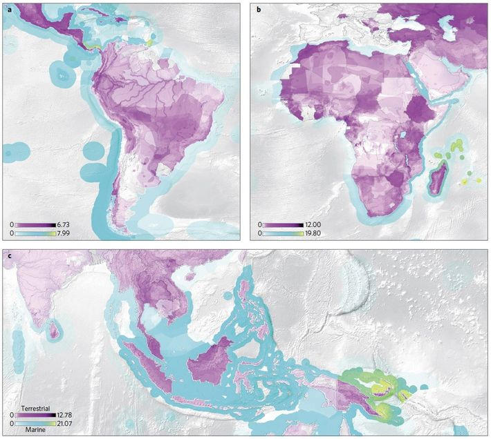 a) Menaces pesant sur les animaux d'Amérique du sud, principalement causées par la consommation états-unienne. b) Causées ...