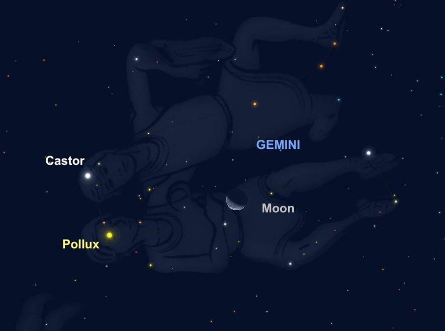 Le 23 septembre, la Lune se rapprochera de Castor et Pollux, les deux étoiles les plus brillantes de la constellation du Gémeau.