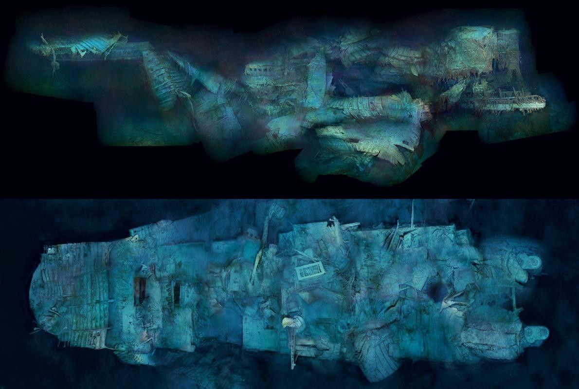 La poupe abîmée du Titanic, capturée ici de profil et de dessus, témoigne du choc extrême ...