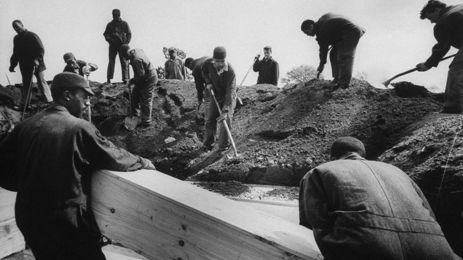 Des prisonniers enterrent les corps non réclamés sur Hart Island à New York en 1963. Le ...