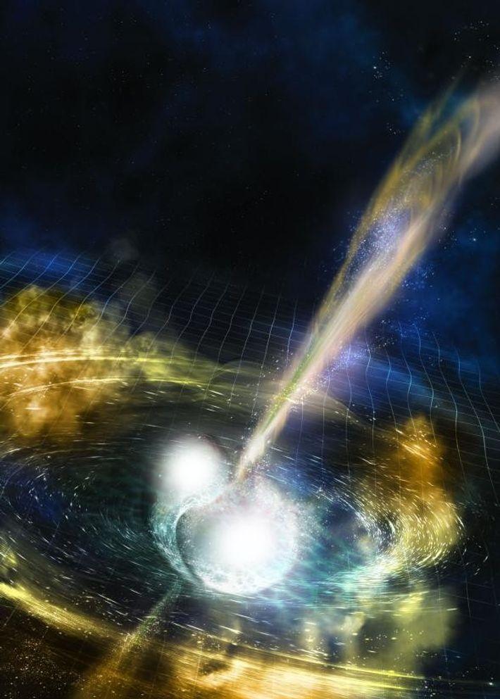 Les distorsions de l'espace-temps sont créées par deux étoiles à neutrons entrant en collision, comme le ...