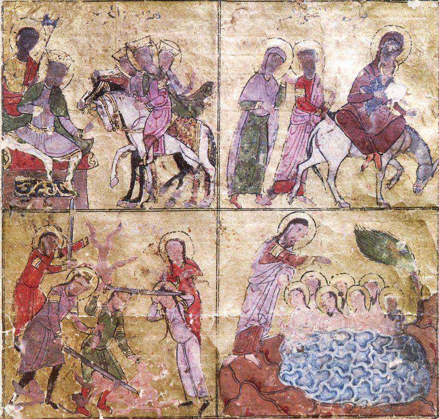 Dans ce détail d'un manuscrit copte du XIIIe siècle, la fuite en Égypte (en haut à droite) est représentée. Cet épisode revêt une importance particulière pour les coptes, qui vénèrent les lieux égyptiens où la Sainte Famille aurait erré.