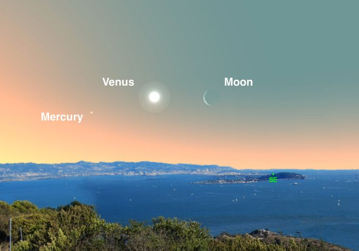 Cherchez la brillante Vénus près du croissant de Lune à l'aube du 2 avril.