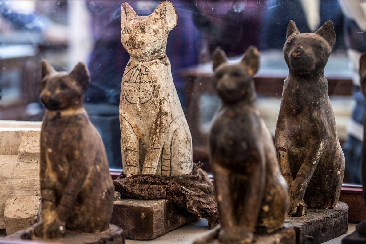 En plus des animaux momifiés, les archéologues ont mis la main sur des dizaines de statues ...