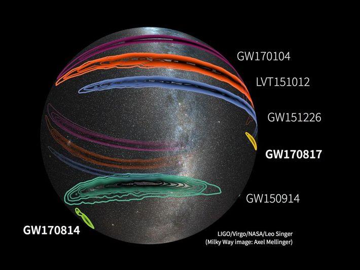 Une carte de l'ensemble du ciel confirme la détection d'ondes gravitationnelles à date, et une potentielle ...