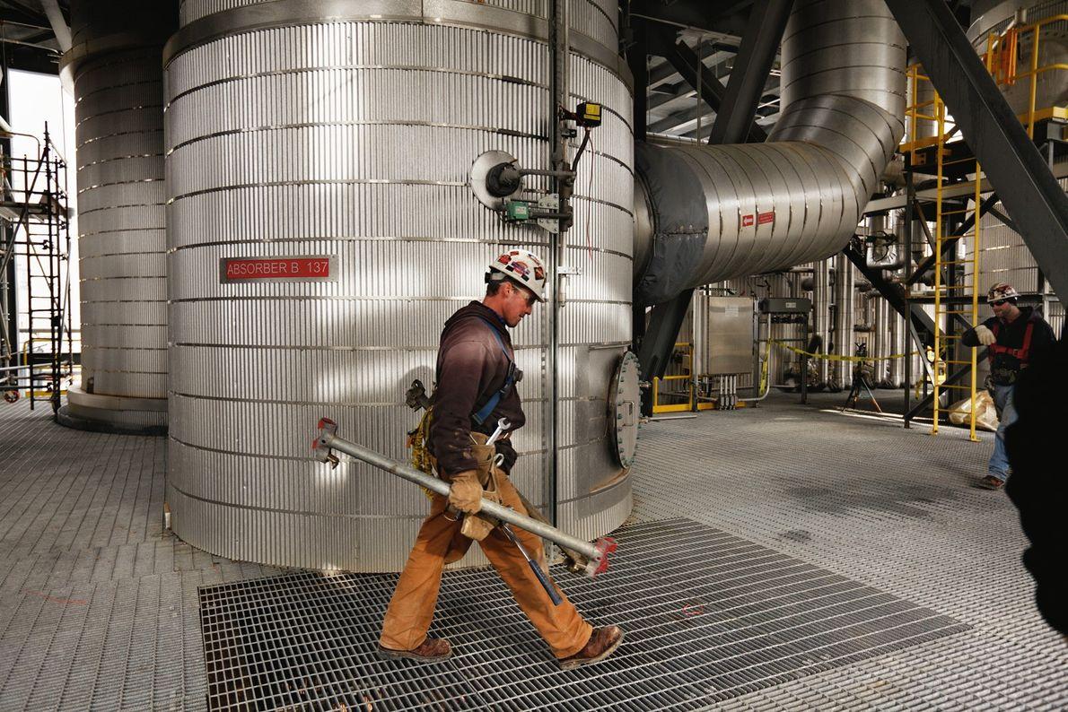 En utilisant une technologie qui pourrait limiter le réchauffement climatique, les réservoirs d'essai d'une centrale American ...