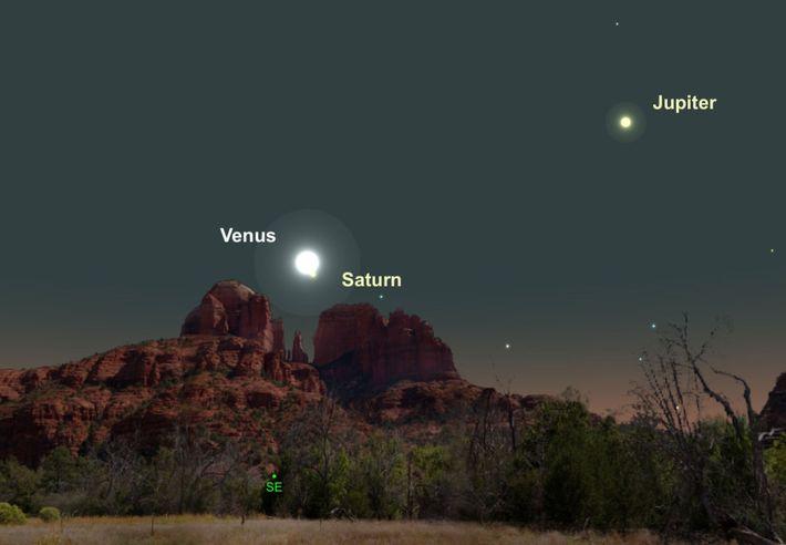 Deux des plus brillantes planètes, Vénus et Saturne, seront particulièrement proches dans le ciel le 18 ...