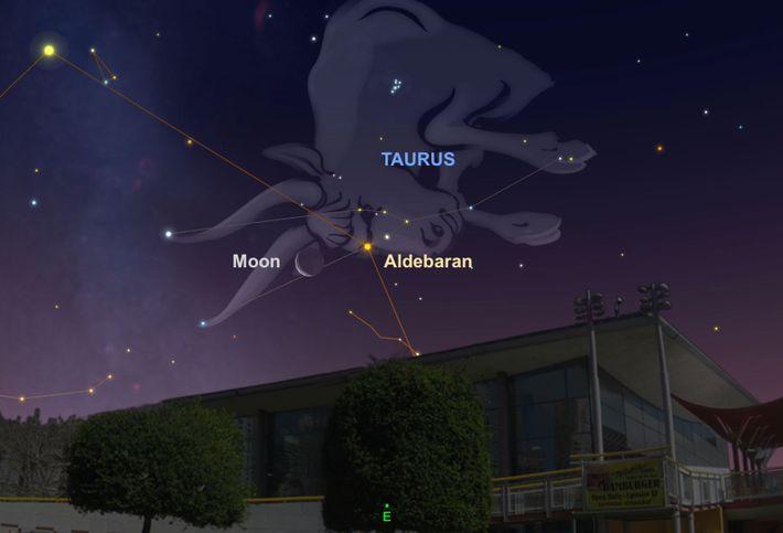 Cherchez la Lune près de l'étoile brillante Aldébaran aux premières heures du 28 juillet.