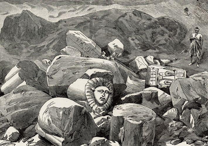 Le site de Tell Basta représenté dans un dessin paru dans l'Illustrated London News, en 1887.