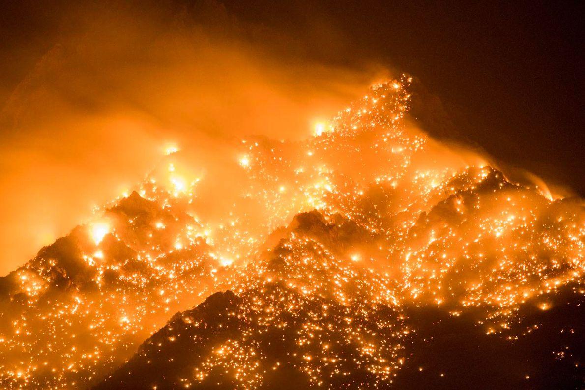 En Californie, l'incendie Georges faisait rage les 8 et 9 juillet 2018 près de Mt. Whitney ...