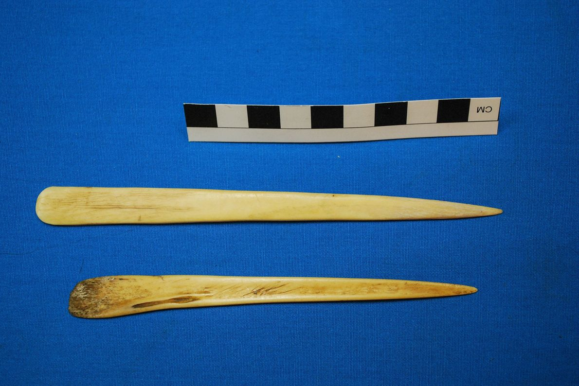 Ces petites spatules façonnées à partir d'os de lamas faisaient également partie du kit chamanique millénaire.