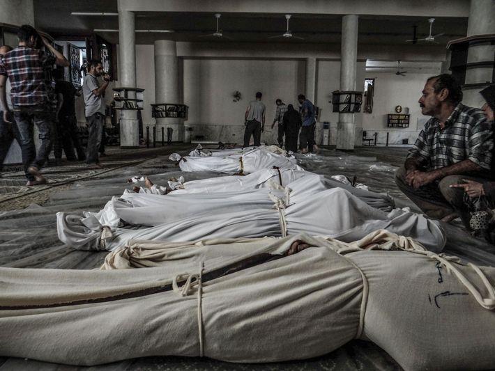 Le 21 août 2013, une attaque à l'arme chimique sur le quartier de Damas de la ...
