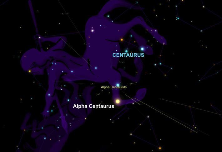 La pluie de météores Alpha-Centaurides semblera rayonner près du système étoilé de l'Alpha du Centaure.