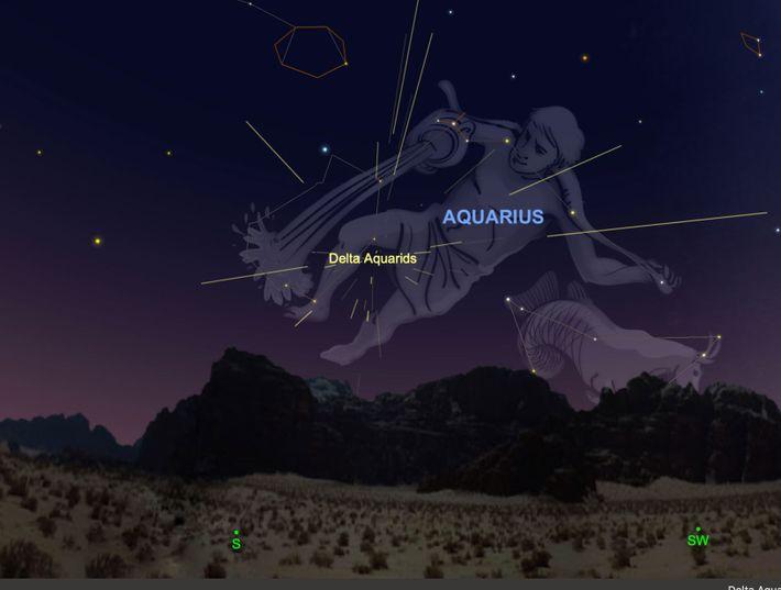 La pluie de météores des Delta Aquarides semblera illuminer la constellation du Verseau les 28, 29 ...