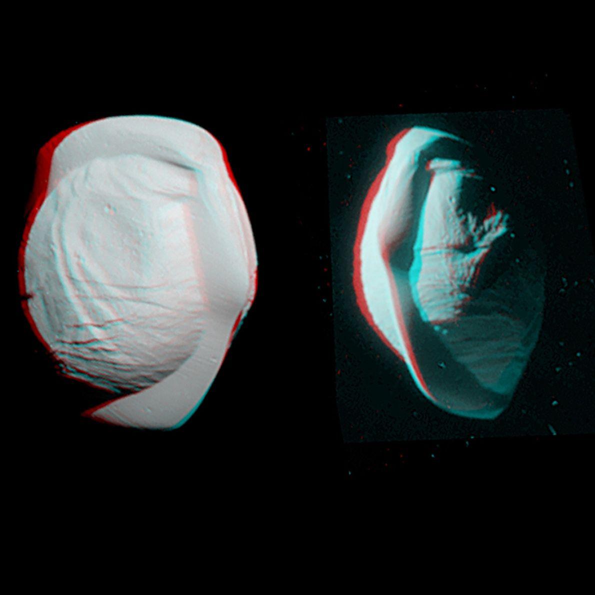 Vue stéréo prise par Cassini en mars 2017 montrant la forme singulière de Pan, un satellite ...