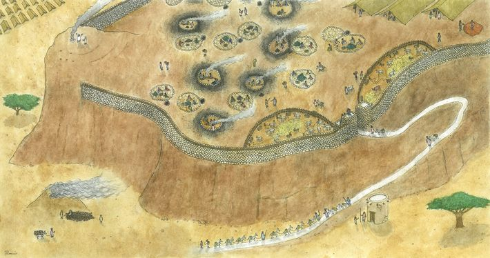 Reconstitution par un artiste du camp minier à partir d'indices archéologiques.