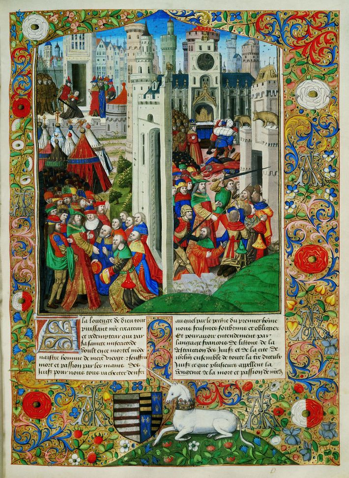À l'intérieur de ce manuscrit enluminé du 15e siècle de Flavius Josèphe intitulé «Guerre des juifs» ...