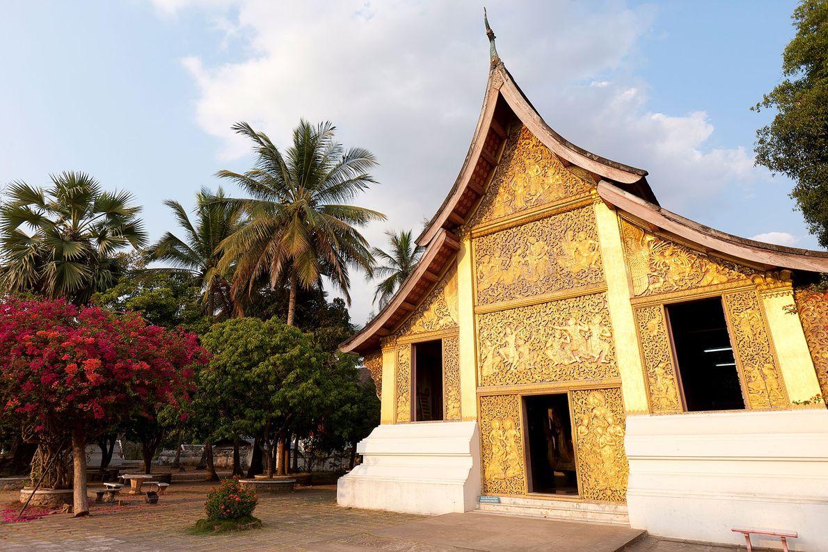 Site sacré des couronnements et des festivités du Nouvel An au Laos, le nom du temple ...